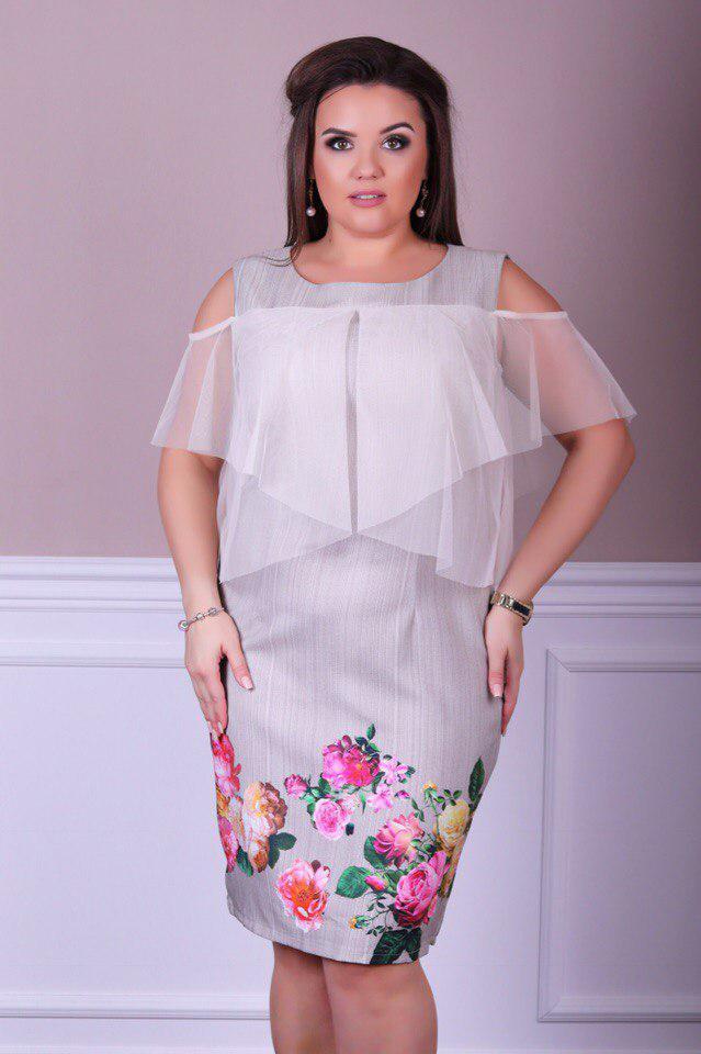 Платье  больших размеров 50+  украшено шифоном и цветочным принтом / 3 цвета   арт 4965-504