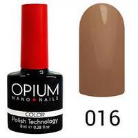 Гель лак Opium № 016 темно-бежевий 8 мл