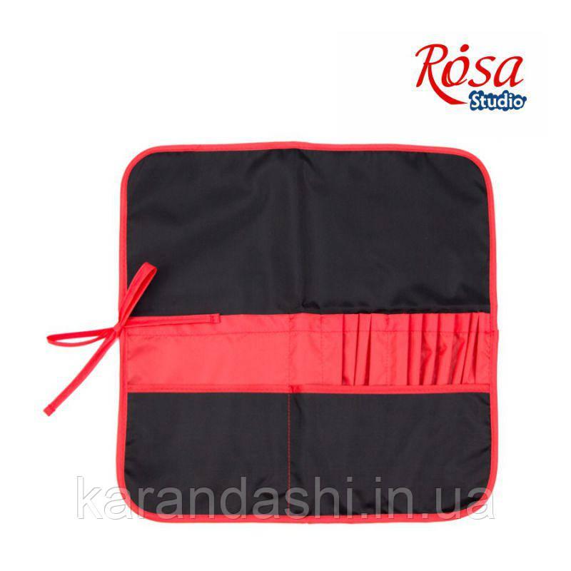 Пенал для кистей, ткань (37х37см), черный+красный ROSA Studio