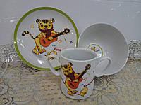 Набор детский 3 предм. (микс) чашка 300мл,миска 700мл,тарелка 19см