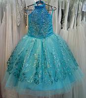 Блестящее бирюзовое детское платье-американка на 4-6 лет 195451599bfe4