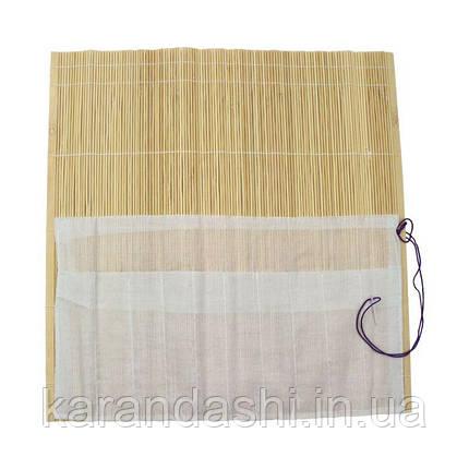 Пенал для кистей, бамбук, натуральный цвет+ткань (36х36см), D.K.ART & CRAFT, фото 2