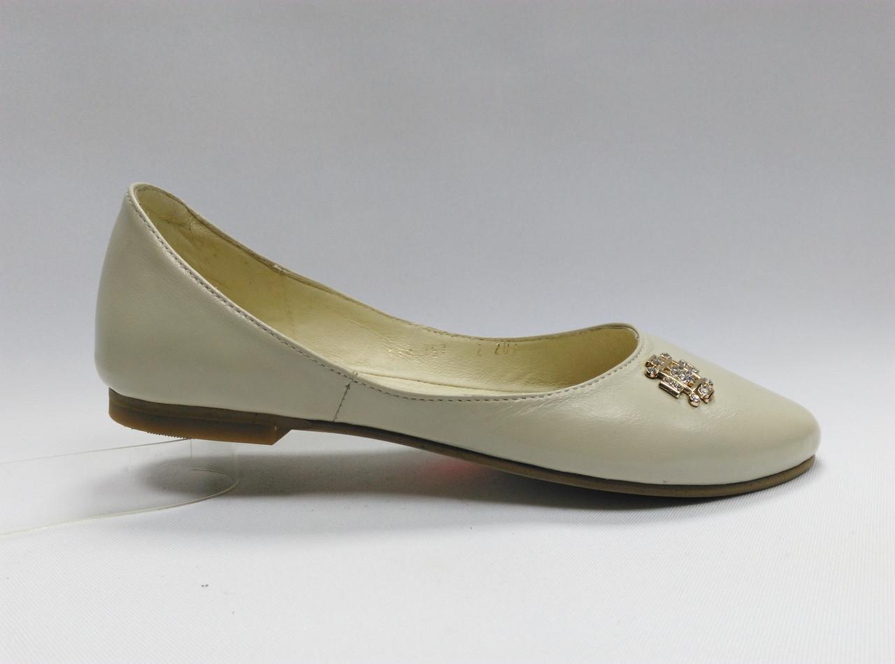 Светлые кожаные балетки. Маленькие размеры (33 - 35)..