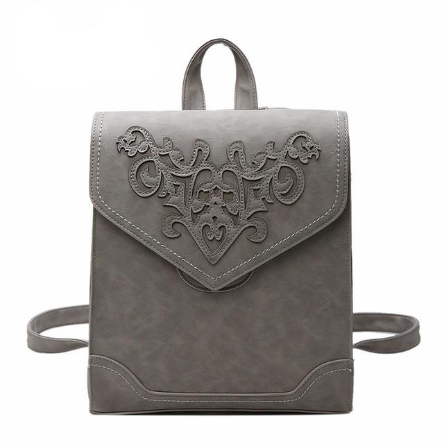 Рюкзак сумка женский городской  матовый с орнаментом (серый)