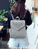 Рюкзак сумка женский городской  матовый с орнаментом (серый), фото 3