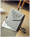 Рюкзак сумка женский городской  матовый с орнаментом (серый), фото 2