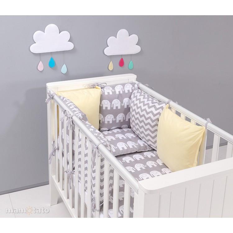 Комплект в кроватку Хатка Слоны бежевый с серым