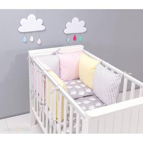 Комплект в кроватку Хатка Совы бежевый с серым