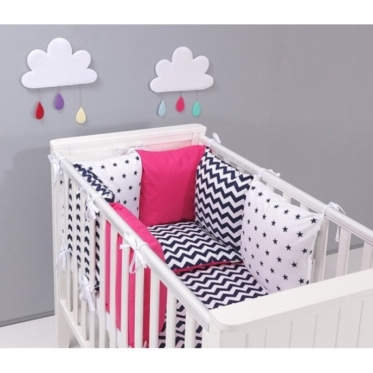 Комплект в кроватку Хатка  розовый с черным