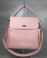 Розовая женская сумка W54030 через плечо на три отделения, фото 1