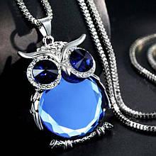 """Кулон женский синяя """"Сова"""" - длина цепочки 70см, кулон 4*5см, сплав"""