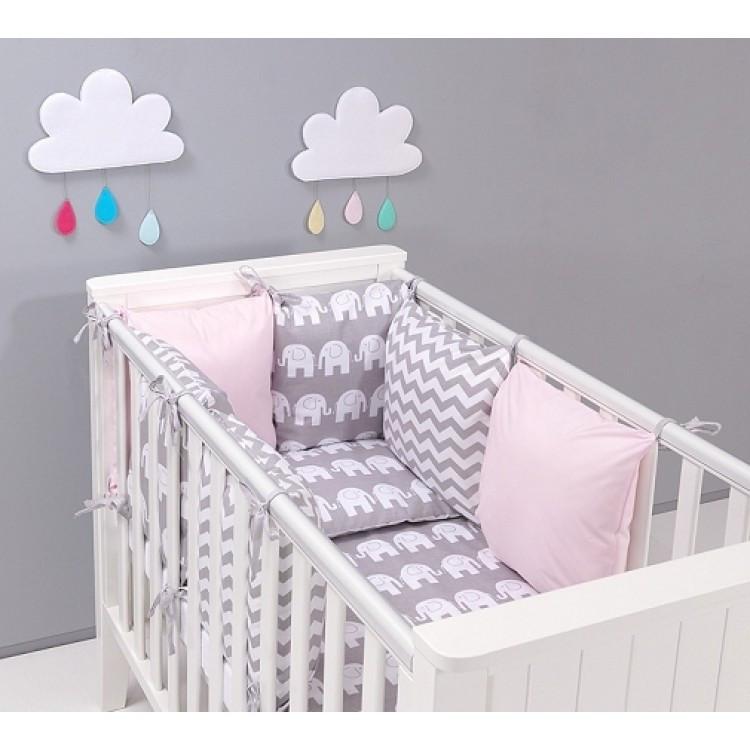Комплект в кроватку Хатка Слоны розовый с серым