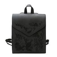Рюкзак сумка женский городской  матовый с вышивкой (черный), фото 1