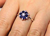 Кольцо серебро 925 проба 17 размер АРТ1046 Синий