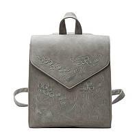 Рюкзак сумка женский городской  матовый с вышивкой (серый), фото 1