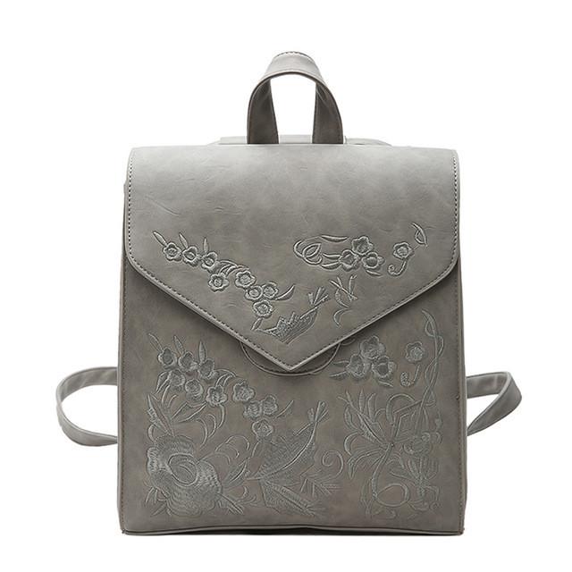 Рюкзак сумка женский городской матовый с вышивкой (серый) - Интернет-магазин  «VINGO df7ab8f5ba9