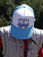 Летняя кепка Adidas (Адидас) белая с голубым
