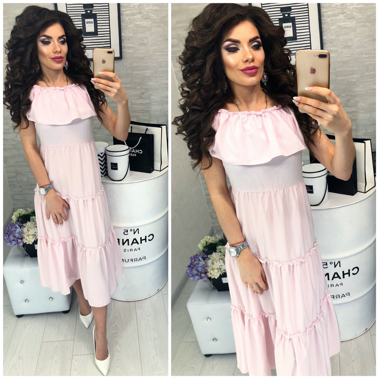 Платье,летнее в полосочку и  воланом, женское, модель 101,  цвет Розовый