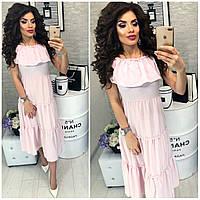 Платье,летнее в полосочку и  воланом, женское, модель 101,  цвет Розовый, фото 1
