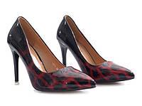Женские туфли красные лаковые леопардовые