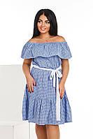 Женское короткое платье с воланом клетка, фото 1