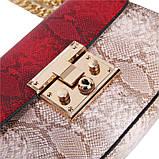 Сумка женская под рептилию с замочком (красная), фото 6