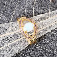 Красивое кольцо с огненным опалом в позолоте.20 размер.Кольцо - радужный опал!, фото 1
