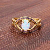 Красивое кольцо с огненным опалом в позолоте. Кольцо - радужный опал!, фото 1