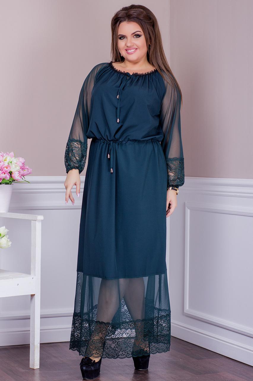 56149738072 Шикарное женское платье для праздника с сеткой и кружевом батал -  Интернет-магазин одежды