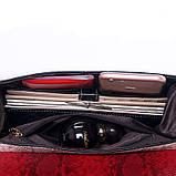 Сумка женская под рептилию с замочком (красная), фото 8