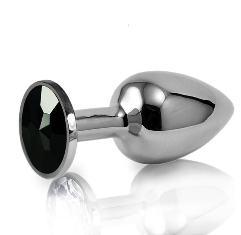 Маленькая анальная втулка с черным кристаллом + чехол.