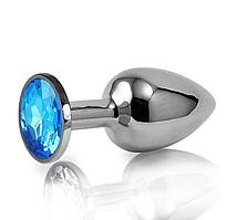 Анальная игрушка с кристаллом + чехол.Голубая.
