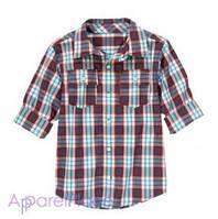 Gymboree Рубашка в фиолетовую клетку с карманами