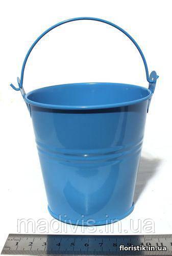 Ведерко декоративное 9,5 см. голубое 2