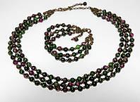 Комплект из Цоизита колье + браслет трехрядные, натуральный камень, бронза, цвет зеленый и его оттенки