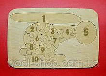 """Пазл-планшет из дерева """"Вертолет - цифры"""", 25/17 см."""