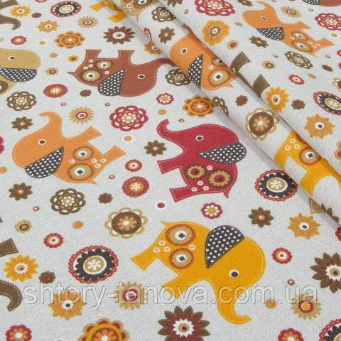 Декоративная ткань для штор, слоники