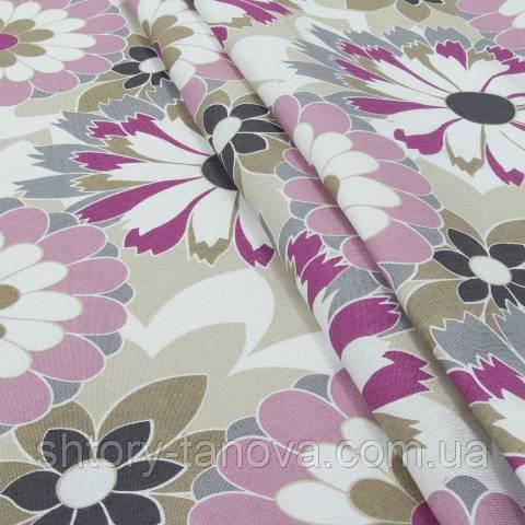 Декоративная ткань для штор, цветочный принт, розовый