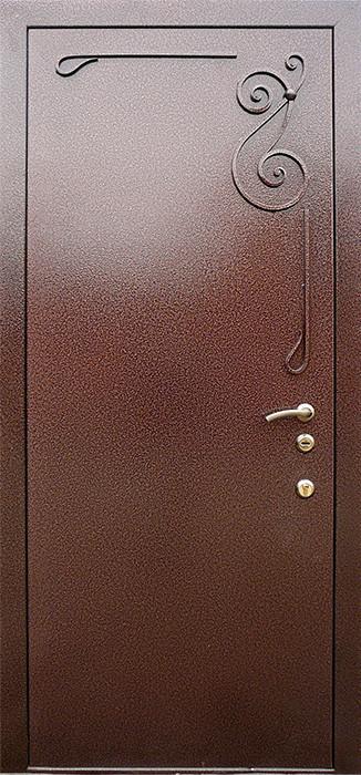 Двери металлические в подъезд с элементами ковки