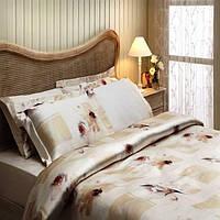 Комплект постельного белья Tivolyo Home WILD ORCHIDS Кремовый евро