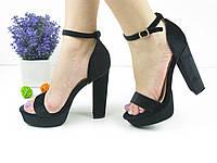 Женские стильные черные босоножки на каблуках 1030