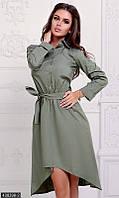 Платье коттоновое ассиметричное с поясом
