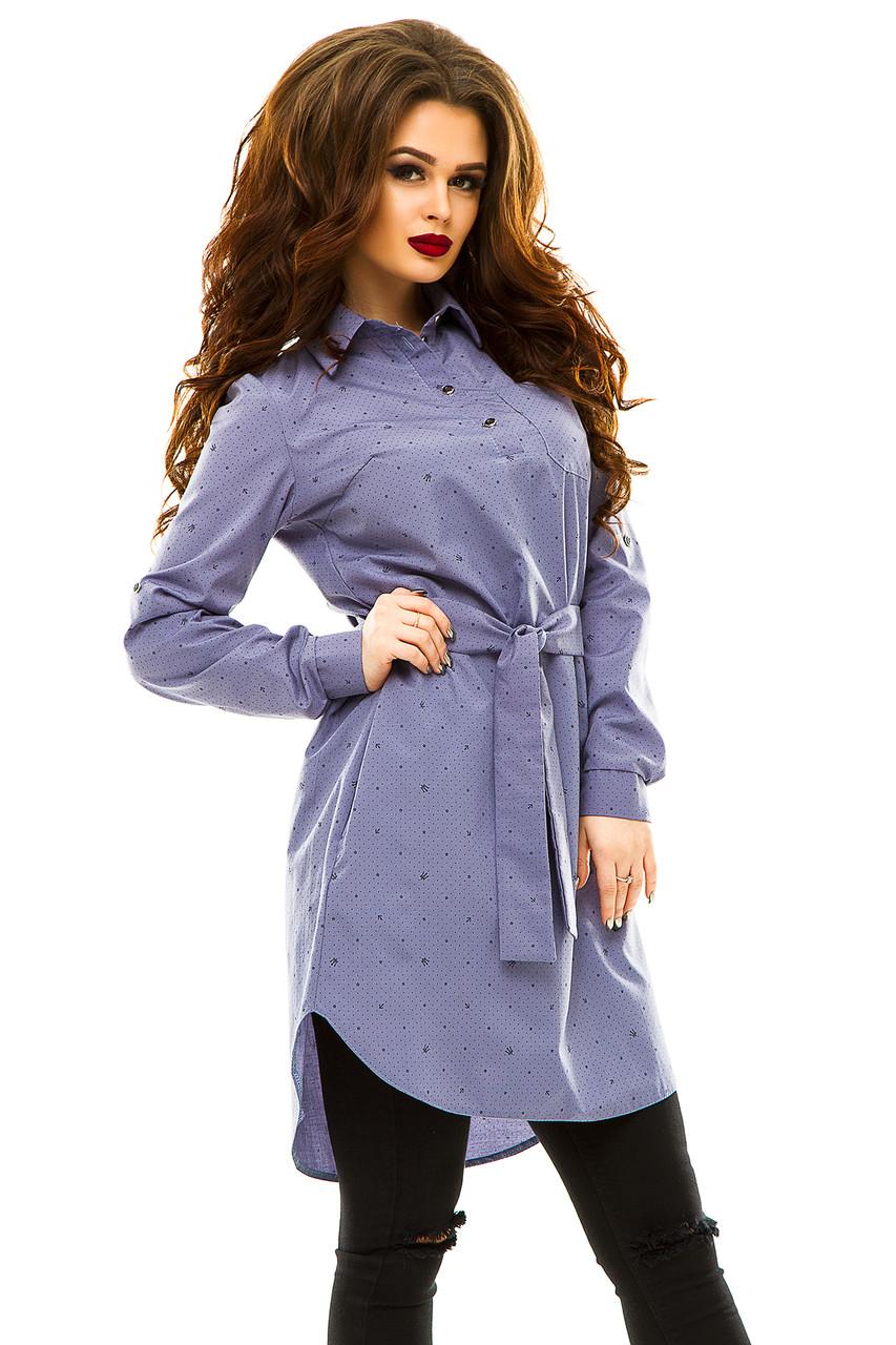 Платье- рубашка 274 серая принт