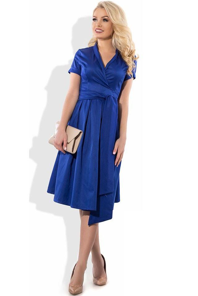 649403e10a4 Красивое летнее платье на запах синее Д-1116  продажа