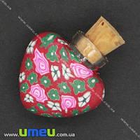 Стеклянная баночка с полимерной глиной Сердце, Красная, 24х22 мм, 1 шт. (DIF-006771)