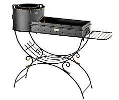 Мангал стальной кованный с печью, съемным коробом и боковой полкой М42