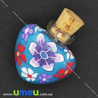 Стеклянная баночка с полимерной глиной Сердце, Голубая, 24х22 мм, 1 шт. (DIF-006770)