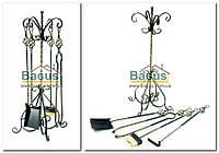 Кованный каминный набор квадратное сечение, (подставка, кочерга, совок, щетка, щипцы) FM-0010, фото 1