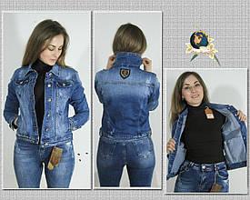 Куртка женская джинсовая приталенная Dimony светло-синего цвета