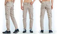 Молодежные летние штаны Cargo Pants бежевые с подворотами